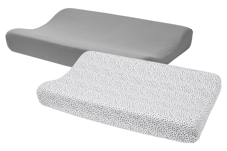 Wickelauflagenbezug Basic Jersey/Cheetah 2-pack - Grau - 50x70cm