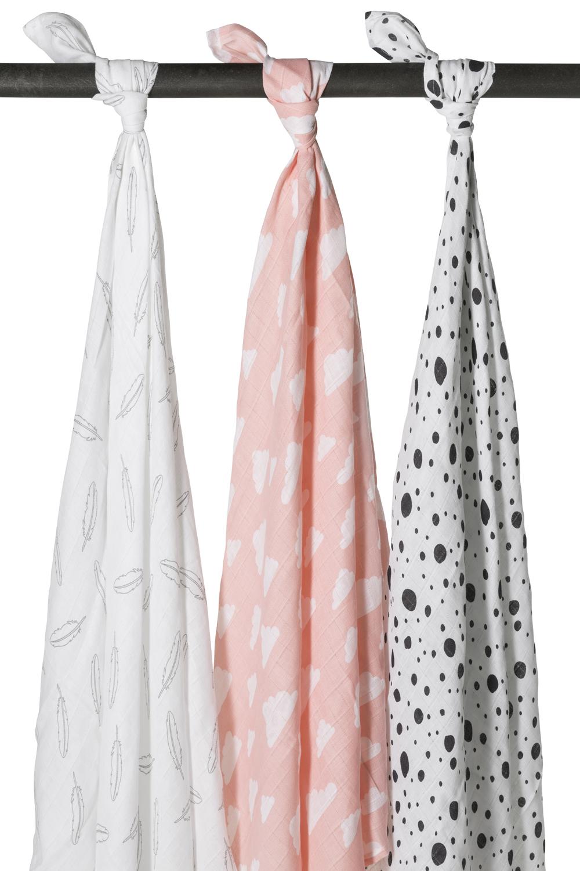 Hydrofiele Swaddles 3-Pack Feathers-Clouds-Dots - Roze/Wit/Grijs/Zwart - 120x120cm