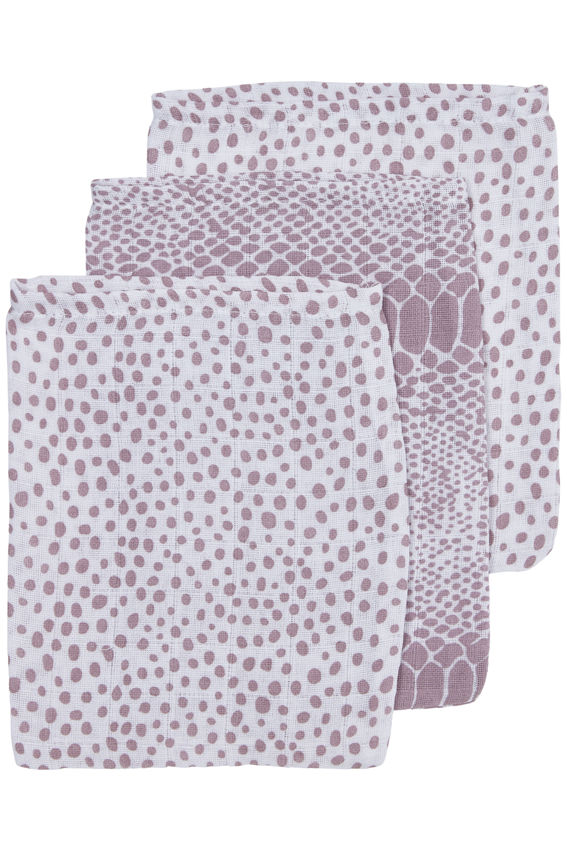 Hydrofiele Washandjes 3-Pack Snake/Cheetah - Lilac - 20x17cm