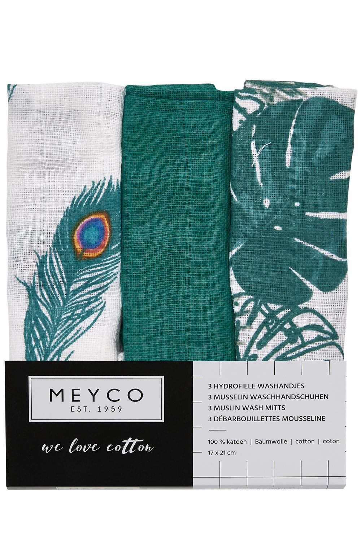 Hydrofiele Washandjes 3-pack Tropical leaves - Uni emerald green/Peacock - 20x17cm