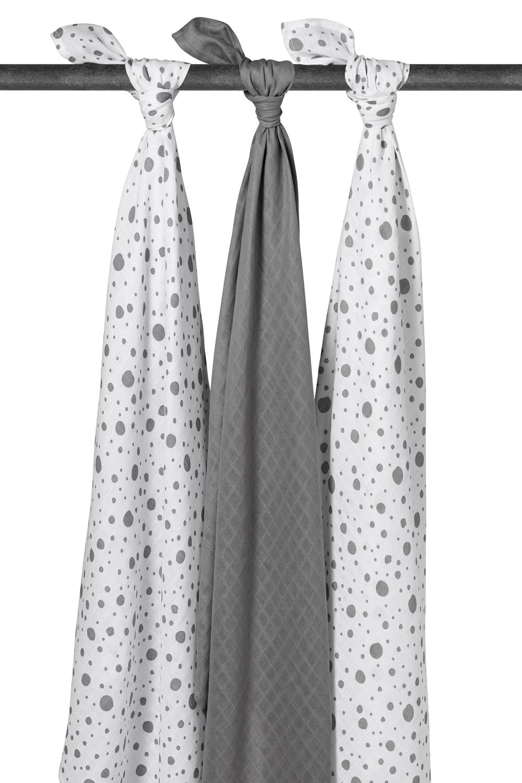 Musselin Swaddles 3-pack Dots - Grijs - 120x120cm
