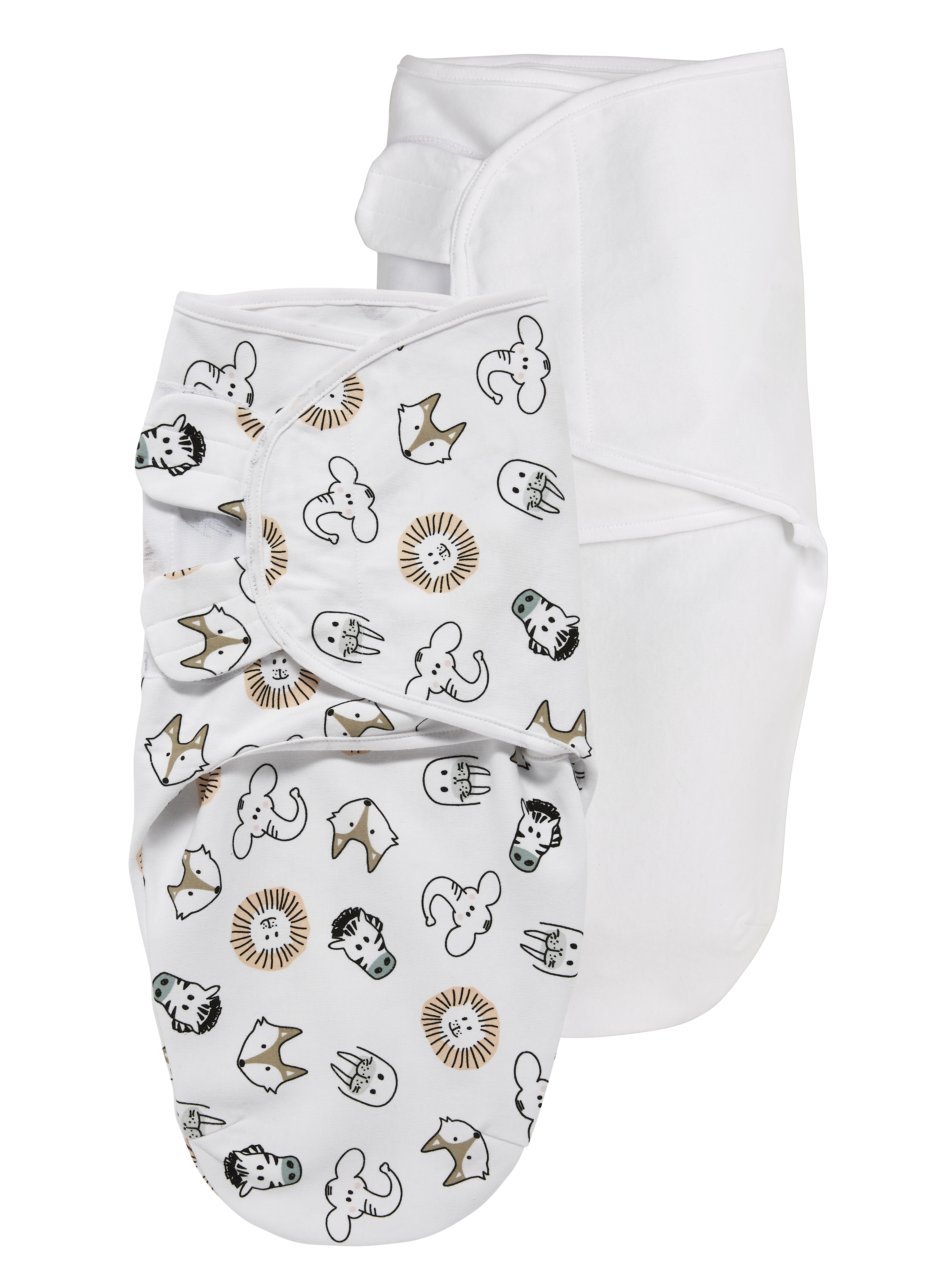 SwaddleMeyco 2-Pack Animal - Animal/Uni Wit - 0-3 Maand