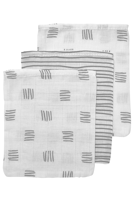 Hydrofiele Washandjes 3-Pack Block Stripe - Grijs - 20x17cm
