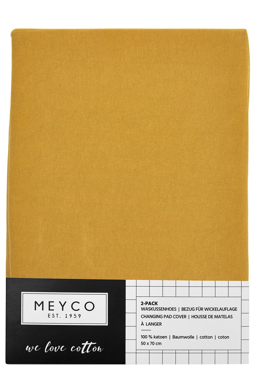 Aankleedkussenhoes Basic Jersey 2-Pack - Okergeel - 50x70cm