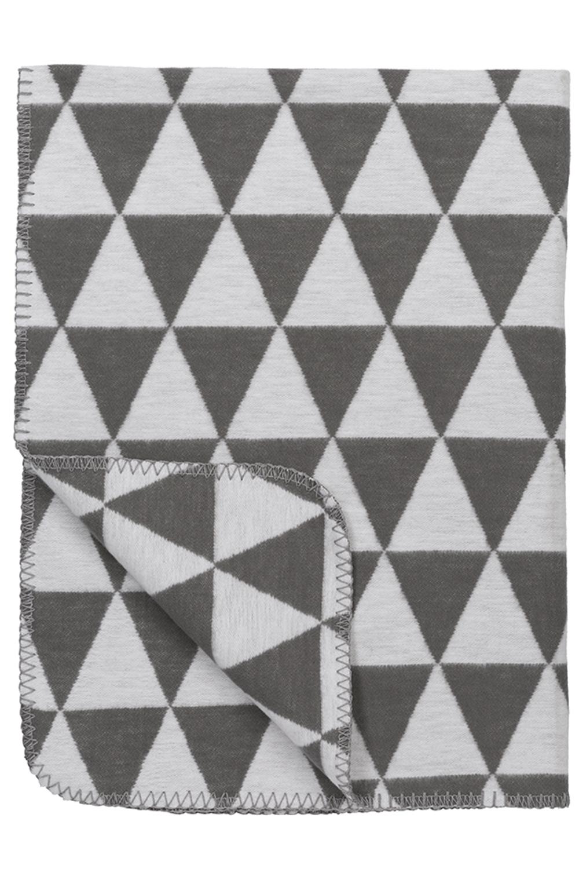Biologische Flanel Ledikantdeken Triangle - Grijs - 120x150cm