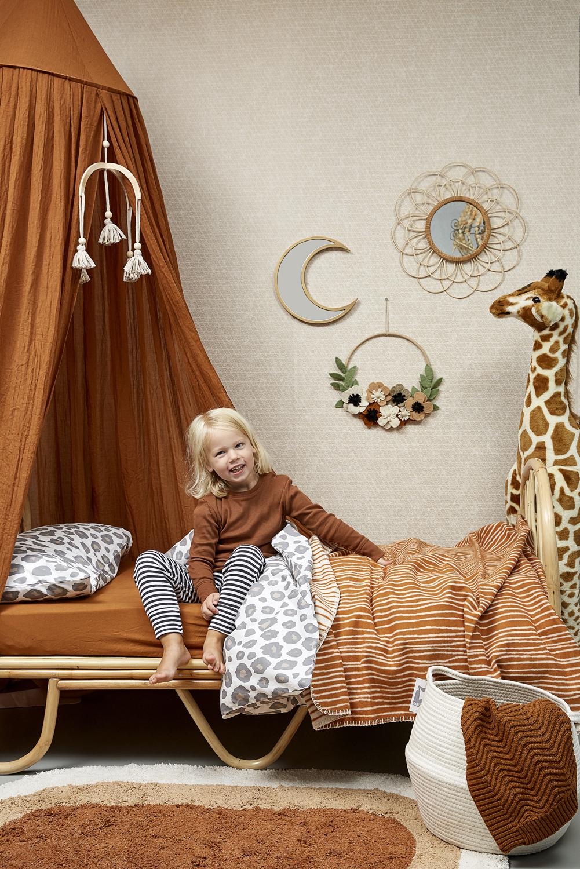 Ledikantdeken Flanel Stripe - Camel/Offwhite - 120x150cm