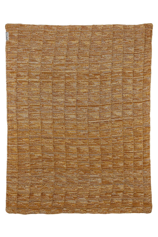 Ledikantdeken Velvet Block mixed - Okergeel/camel - 100x150cm