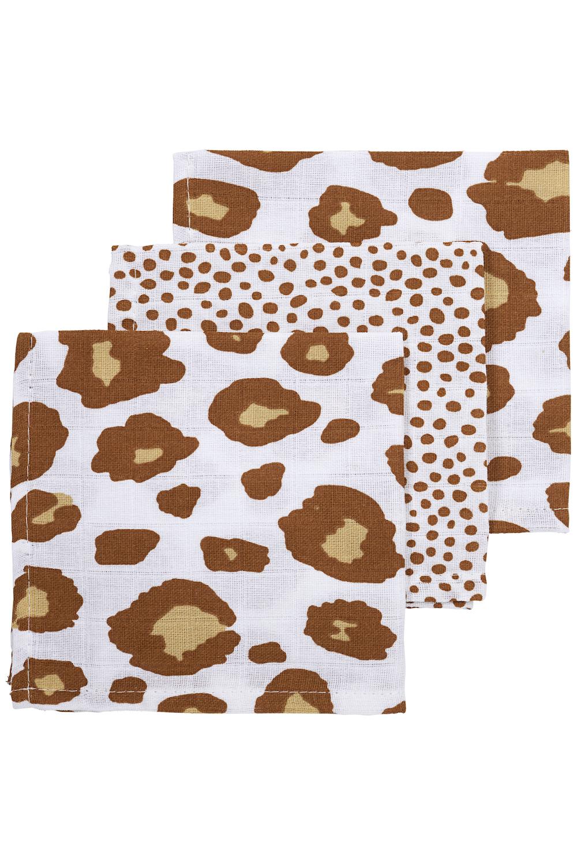 Musseline Spucktücher 3-pack Panter/Cheetah - Camel - 30x30 cm