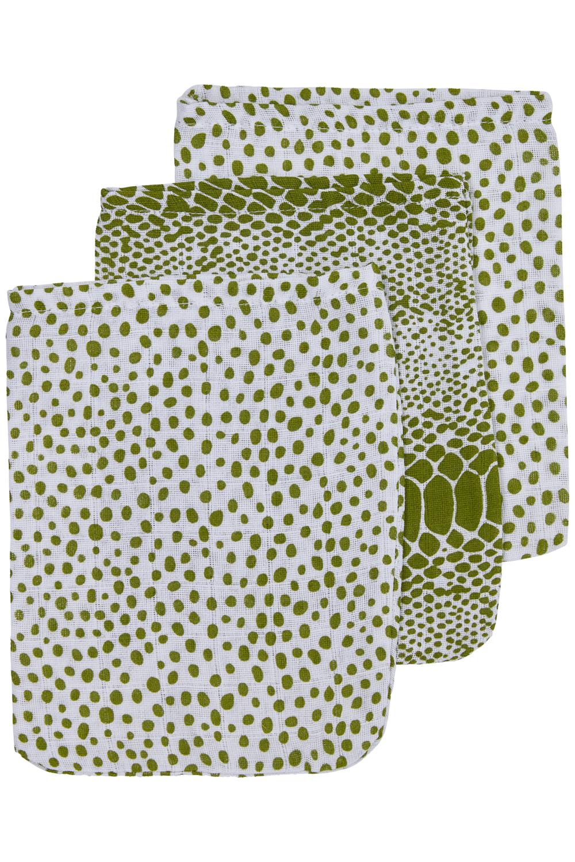Hydrofiele Washandjes 3-Pack Snake/Cheetah - Avocado - 20x17cm