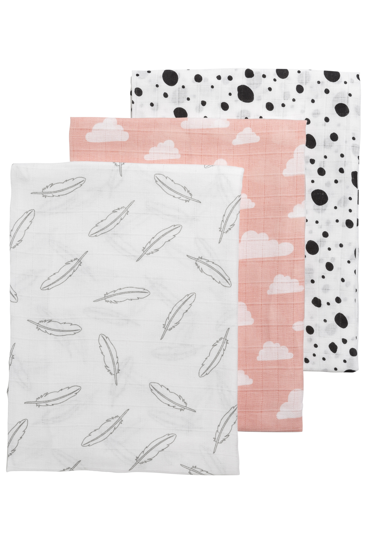 Musselin Swaddles 3-Pack Feathers-Clouds-Dots - Roze/Weiß/Grau/Schwarz - 120x120cm