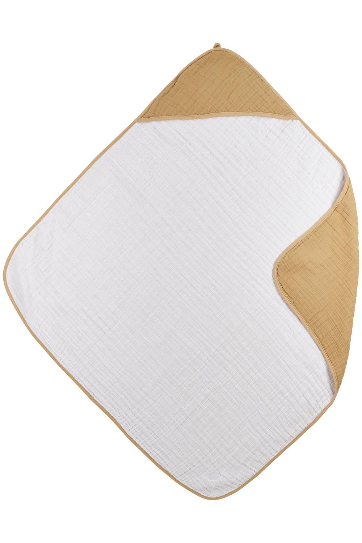 Hydrofiele Badcape Uni - Warm Sand/Warm Wit - 80x80 cm