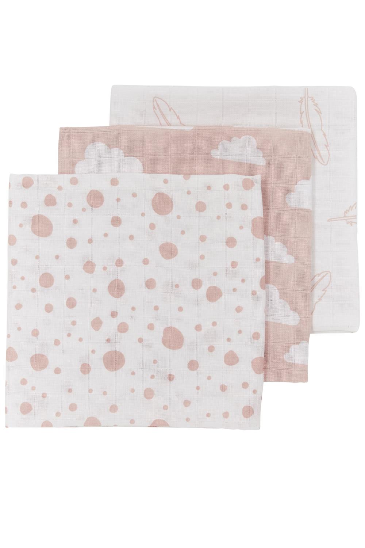 Musselin Mullwindeln 3-Pack Feathers-Clouds-Dots - Roze/Weiß - 70x70cm