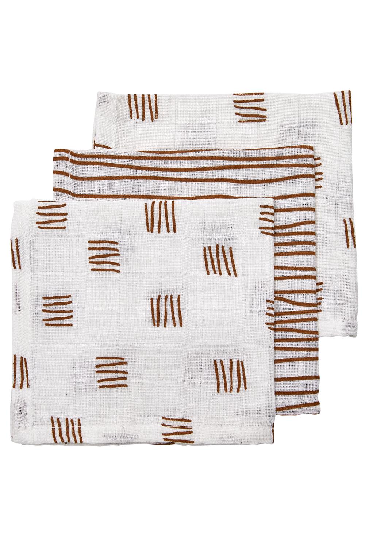 Hydrofiele Monddoekjes 3-pack Block Stripe - Camel - 30x30cm