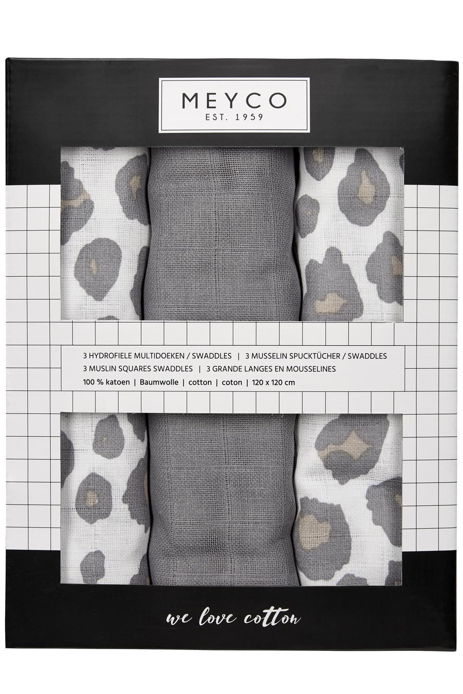 Hydrofiele Swaddles 3-Pack Panter - Panter Neutral/Uni Grijs/Panter Neutral - 120x120cm