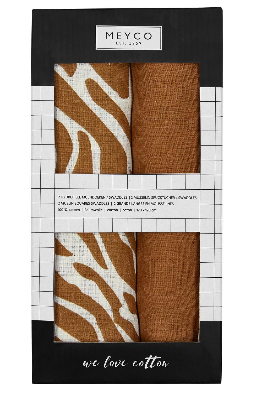 Hydrofiele Swaddles 2-Pack Zebra - Camel - 120x120cm