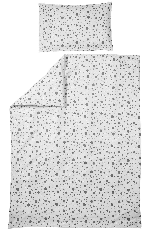 Bettdeckenbezug + Kissenbezug Dots - Grau - 120x150cm