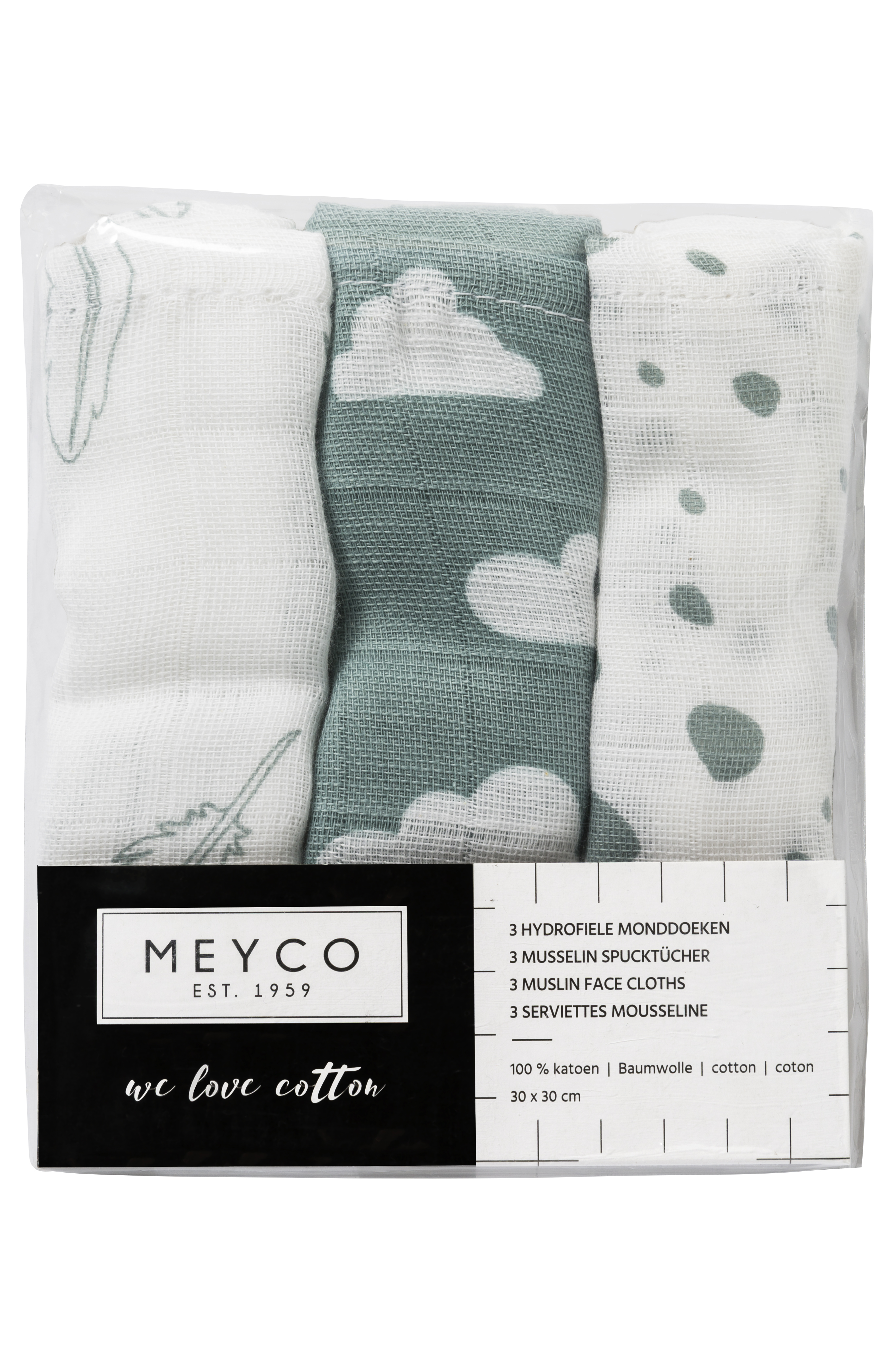 Hydrofiele Monddoekjes 3-Pack Feathers-Clouds-Dots - Stone Green/Wit - 30x30cm