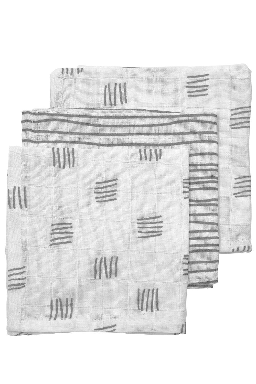 Hydrofiele Monddoekjes 3-Pack Block Stripe - Grijs - 30x30cm