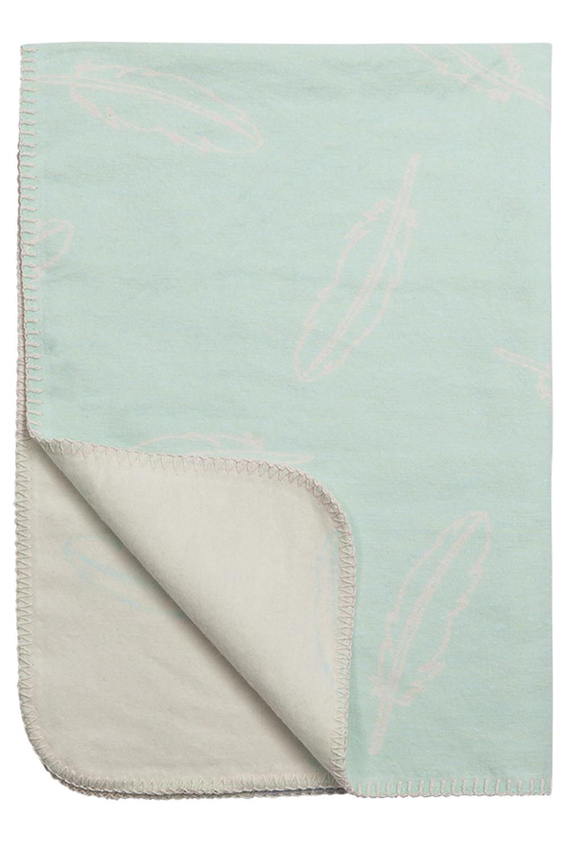 Crib Blanket Flanel Feathers - Aqua - 75X100cm