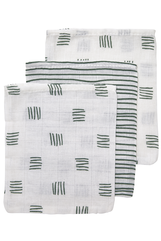 Hydrofiele Washandjes 3-pack Block Stripe - Forest Green - 20x17cm