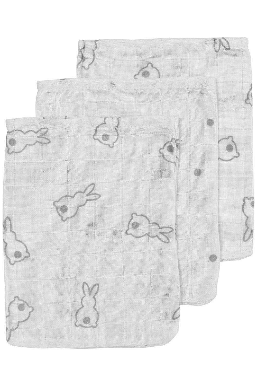 Meyco X Mrs. Keizer 3-Pack Washandje Rabbit - Silver