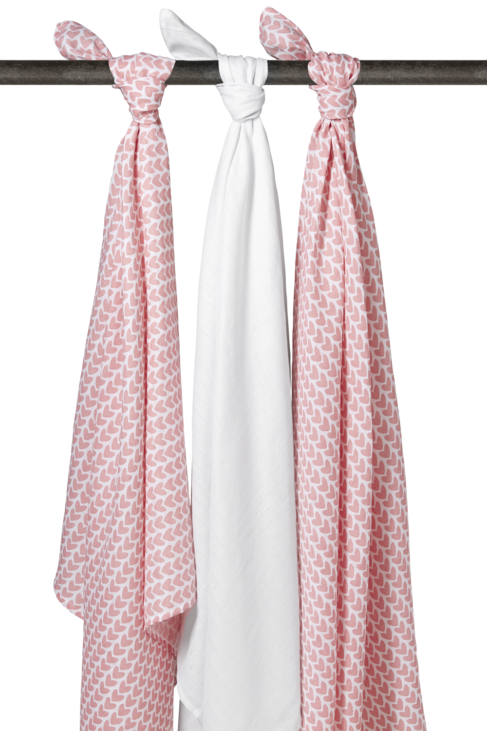 Hydrofiele Swaddles 3-pack Knitted Heart - Wit/Roze - 120x120cm