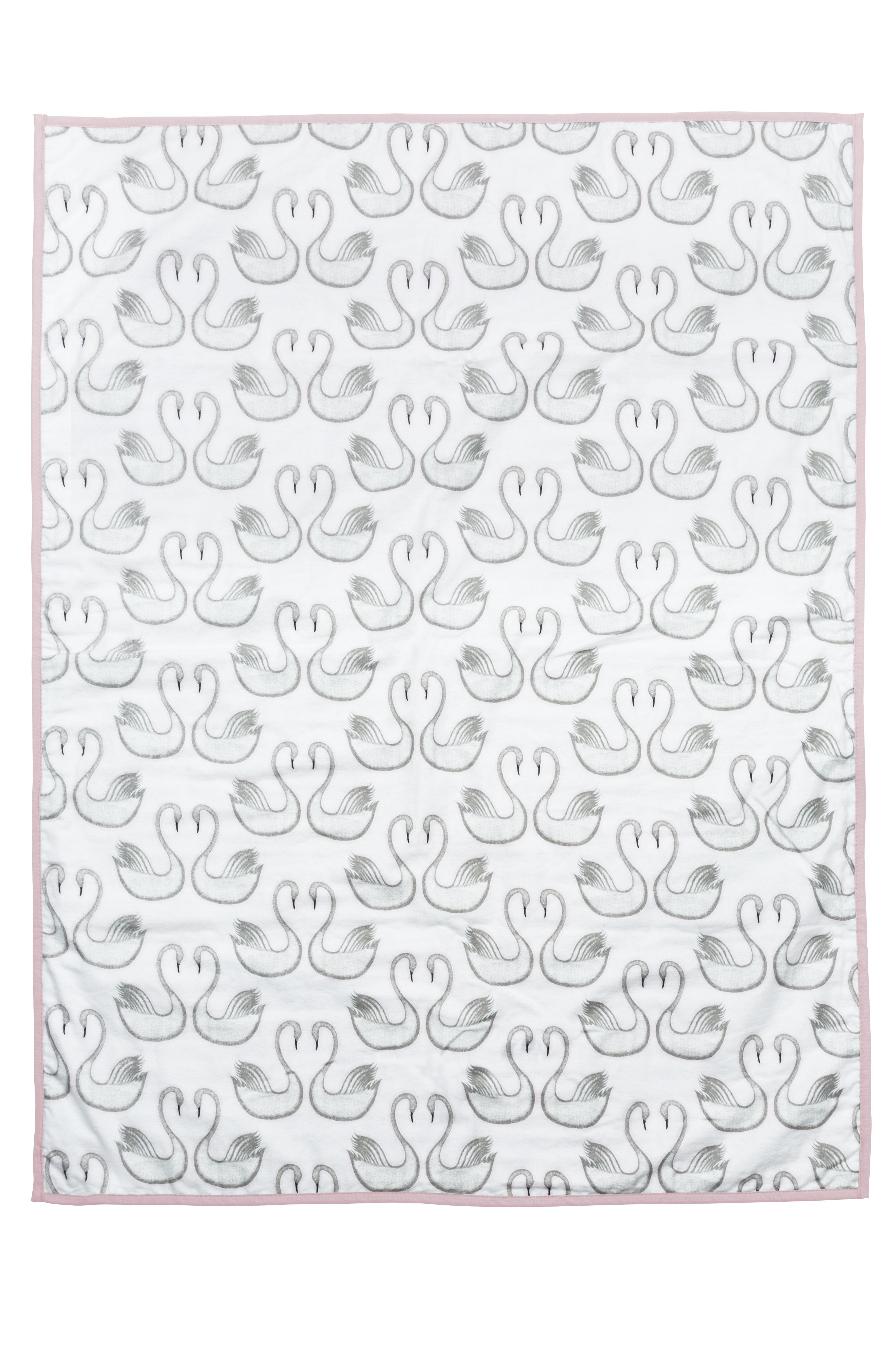 Ledikantdeken Wafel/Flanel Swan - Lichtroze - 120x150cm