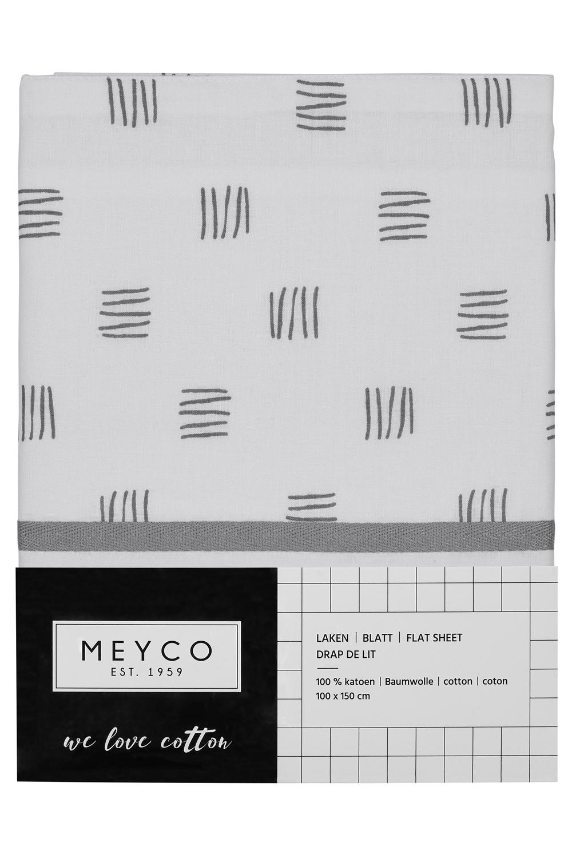 Ledikantlaken Block Stripe - Grijs - 100x150cm