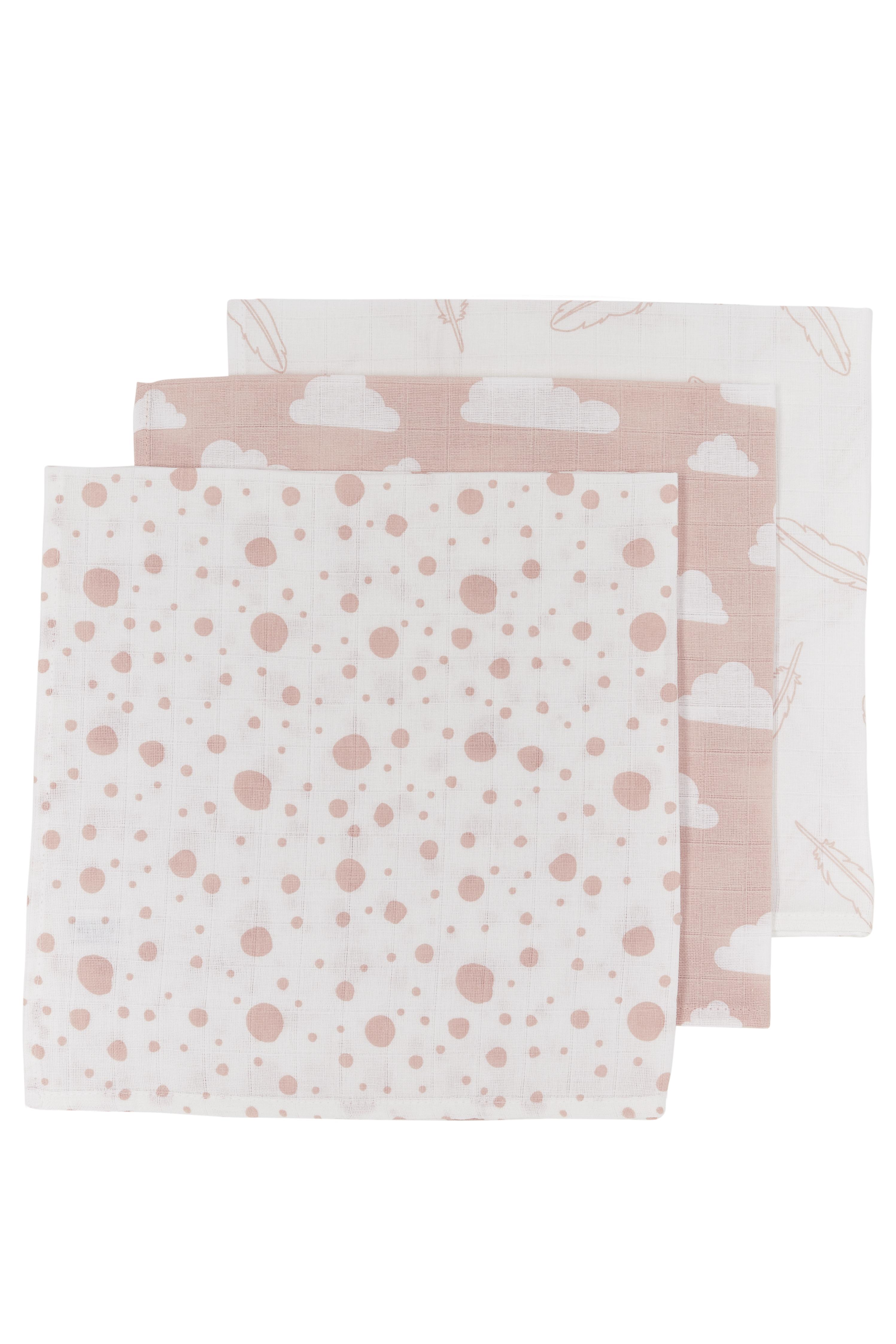 Musselin Spucktücher 3-Pack Feathers-Clouds-Dots - Roze/Weiß - 30x30cm