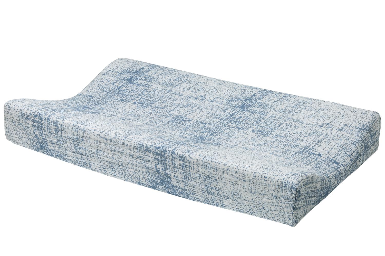 Hydrofiele Aankleedkussenhoes Fine Lines - Jeans/Lichtblauw - 45x70cm