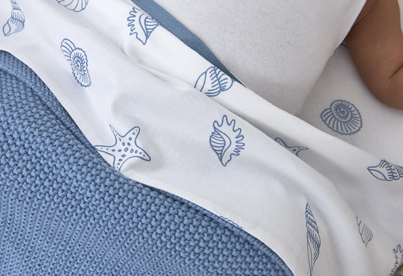 Bettlaken klein Shells - Denim - 75x100cm