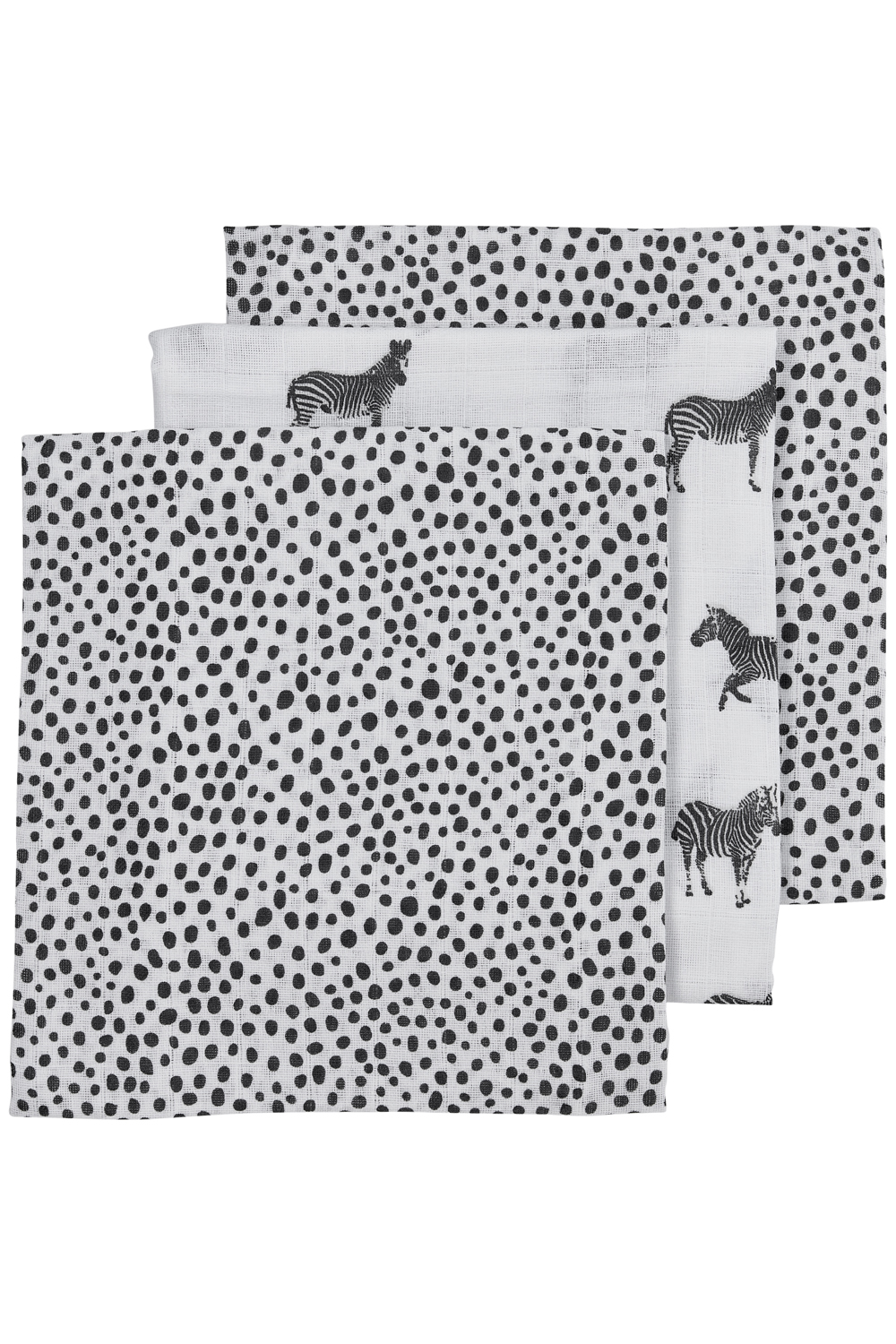 Hydrofiele Luiers 3-Pack  Zebra Animal/Cheetah - Black - 70x70cm