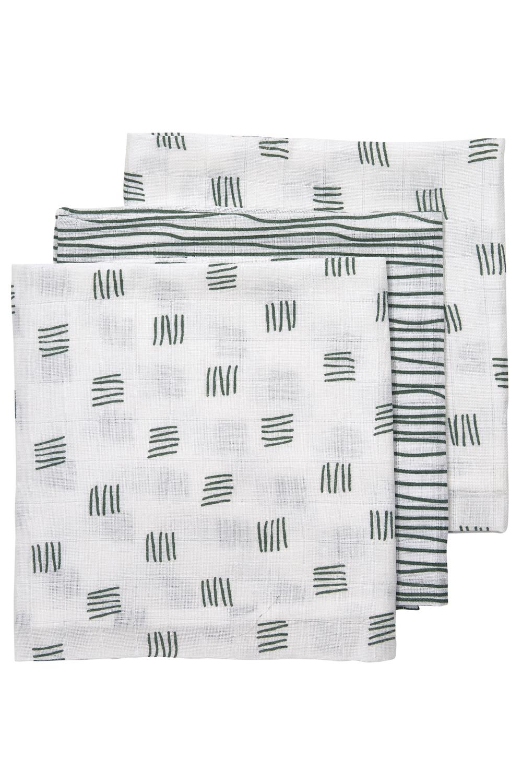 Musselin Mullwindeln 3-pack Block Stripe - Forest Green - 70x70cm