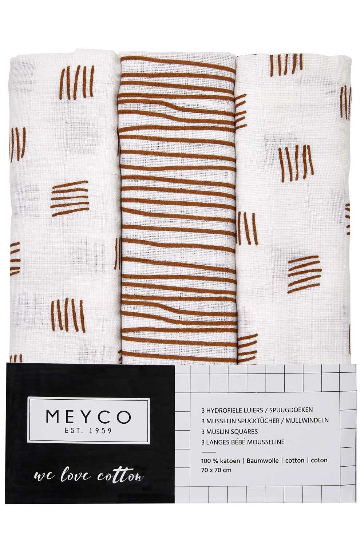 Hydrofiele Luiers 3-pack Block Stripe - Camel - 70x70cm