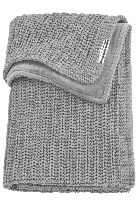 Babydecke klein Velvet Herringbone - Grau - 75x100cm