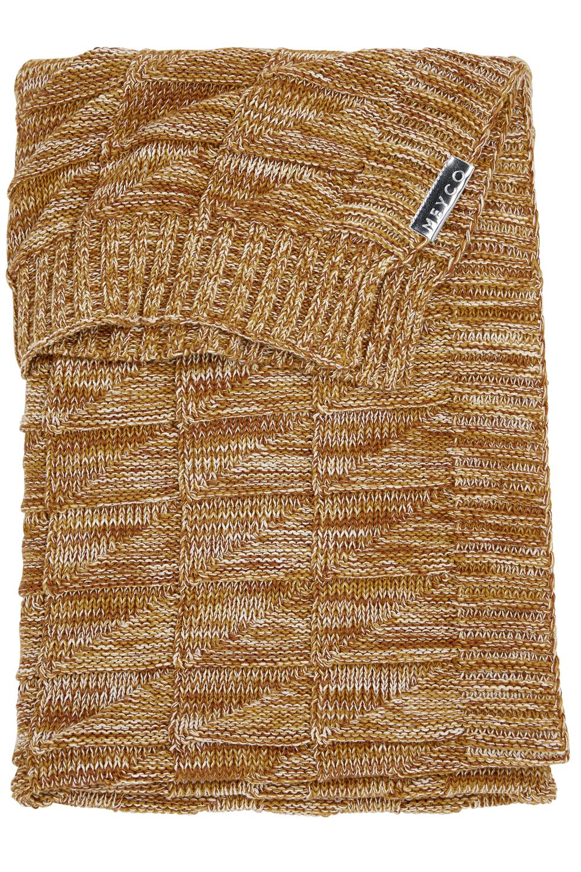 Ledikantdeken Block mixed - Okergeel/camel - 100x150cm