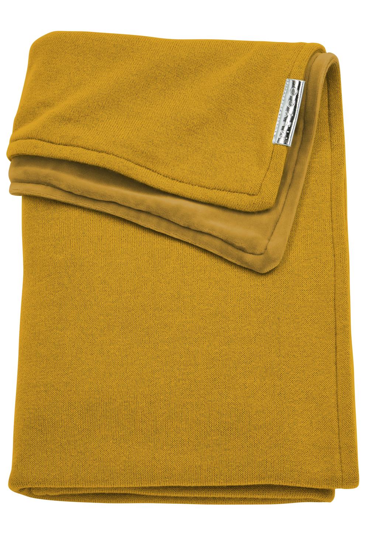 Ledikantdeken Velvet Knit Basic - Okergeel - 100x150cm