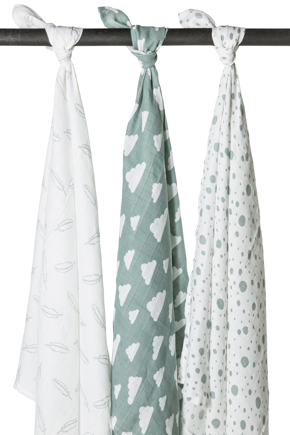 Musselin Swaddles 3-Pack Feathers-Clouds-Dots - Stone Green/Weiß - 120x120cm
