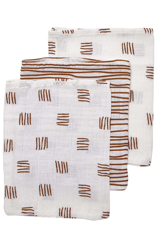 Hydrofiele Washandjes 3-pack Block Stripe - Camel - 20x17cm