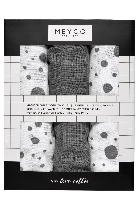 Hydrofiele Swaddles 3-pack Dots - Grijs - 120x120cm
