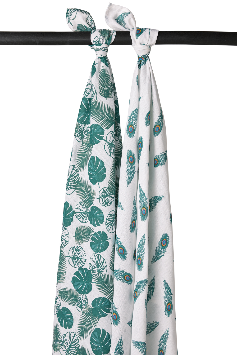 Hydrofiele Swaddles 2-pack Tropical leaves - Peacock Emerald Green - 120x120cm