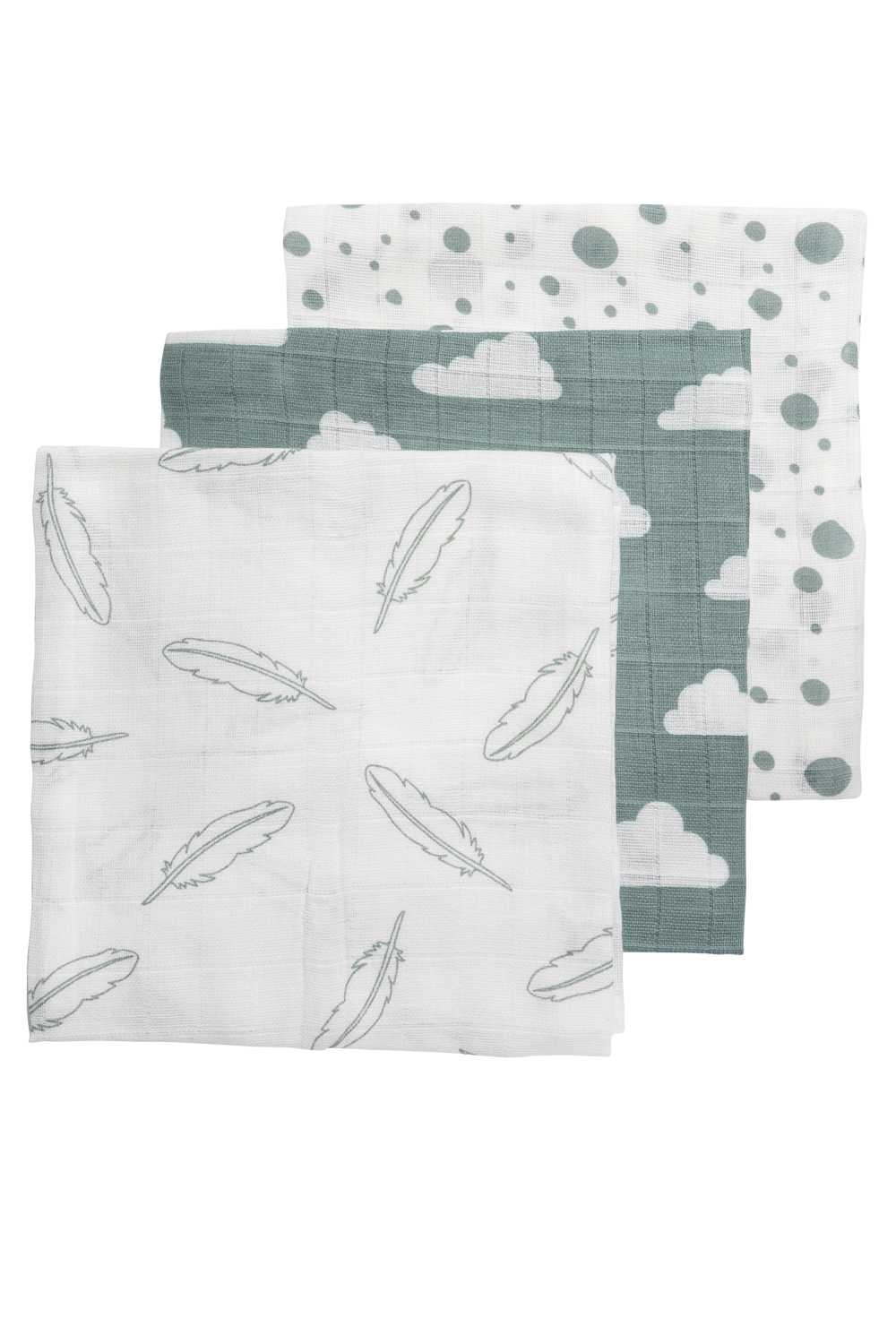 Musselin Mullwindeln 3-Pack Feathers-Clouds-Dots - Stone Green/Weiß - 70x70cm