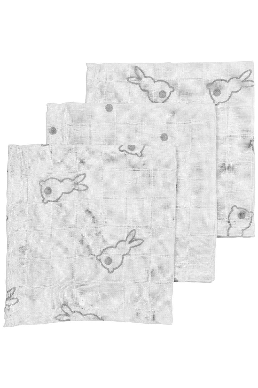 Meyco X Mrs. Keizer 3-Pack Monddoekje Rabbit - Silver