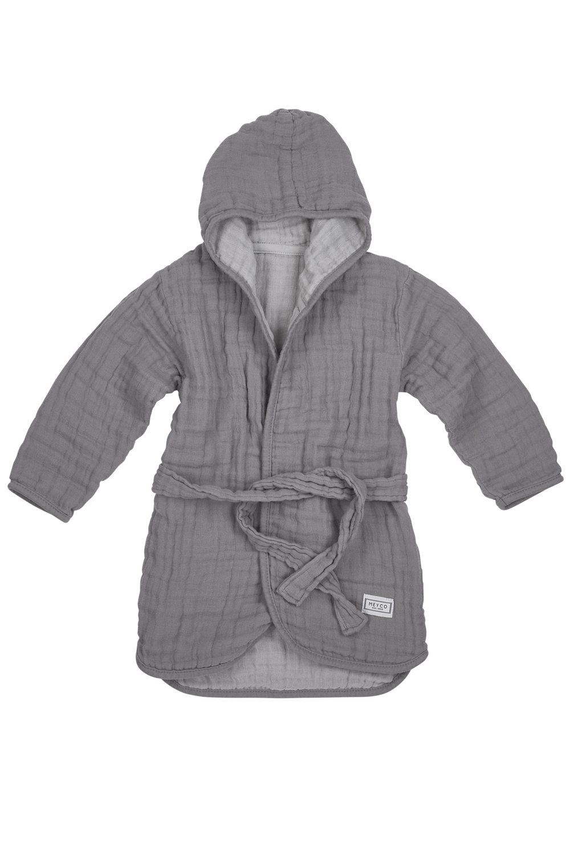 Muslin Bathrobe - Grey/Light Grey - Size 86/92