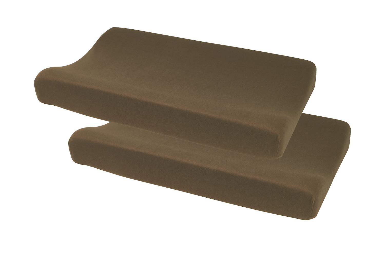 Aankleedkussenhoes Basic Jersey 2-pack - Chocolate - 50x70cm