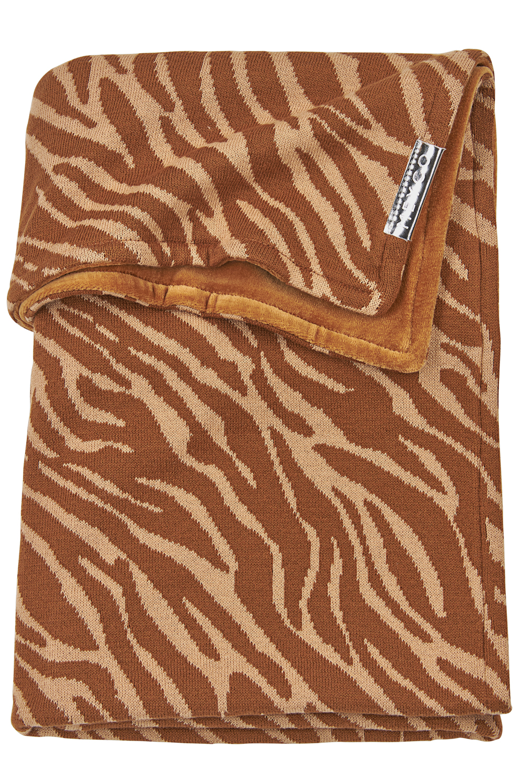 Babydecke klein Velvet Zebra - Camel - 75x100cm