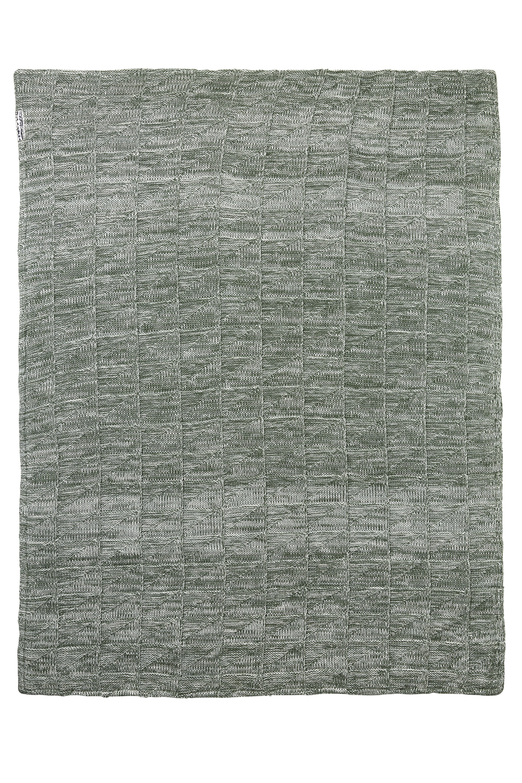 Wiegdeken Velvet Block mixed - Stone/forest green - 75x100cm