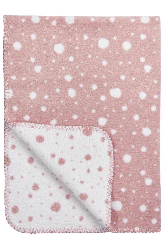 Ledikantdeken Dots - Oudroze/Wit - 120x150cm