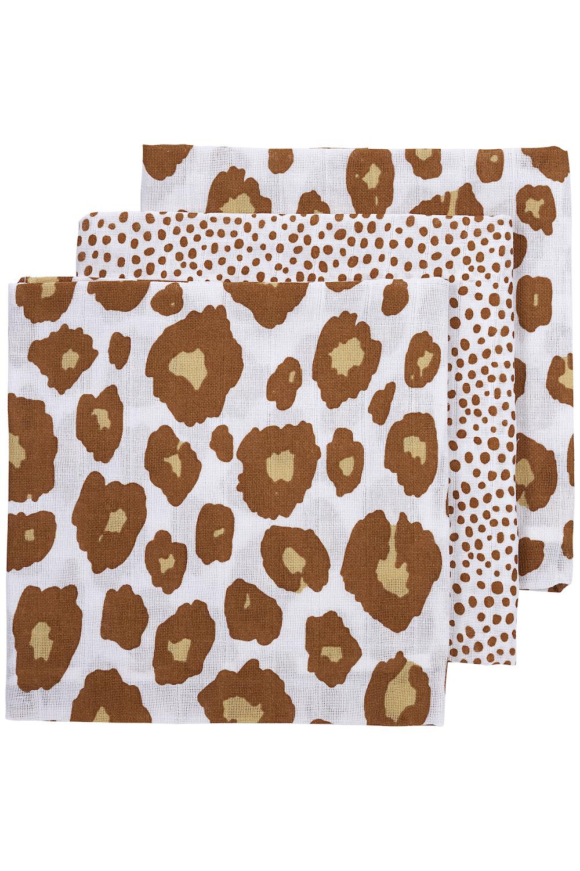 Musseline Mullwindeln 3-pack Panter/Cheetah - Camel - 70x70 cm