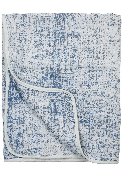 Hydrofiele Deken Fine Lines - Jeans/Lichtblauw - 75x100cm